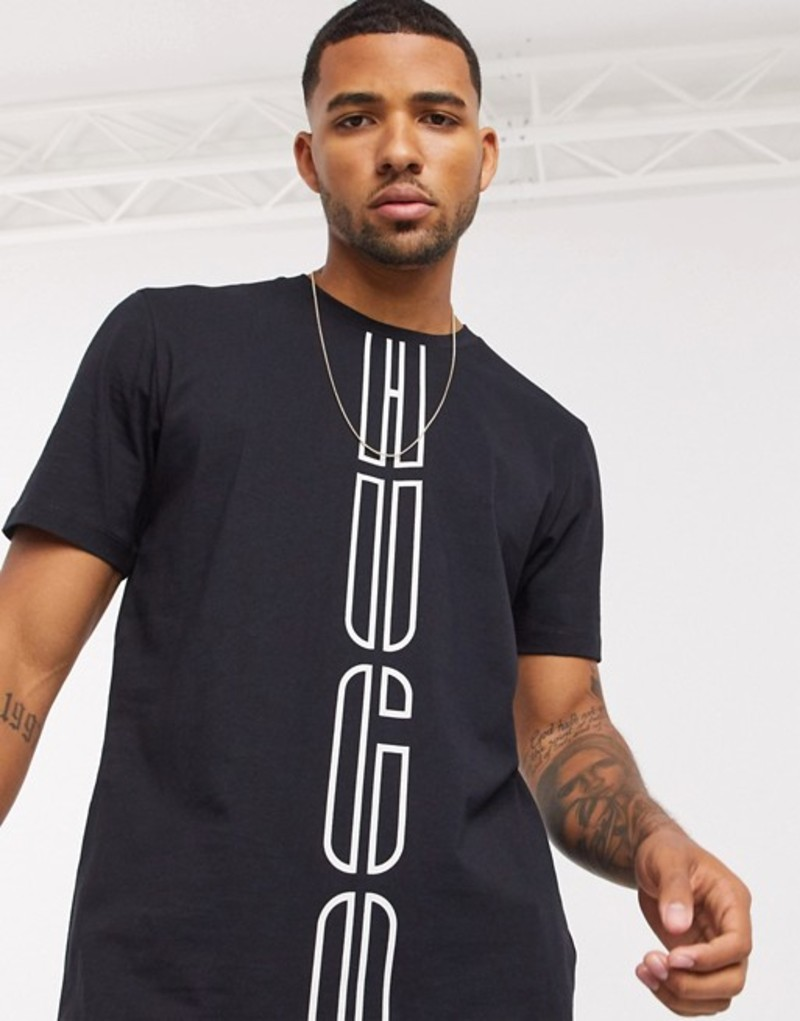 フューゴ メンズ シャツ トップス HUGO Darlon203 vertical logo t-shirt in black Black