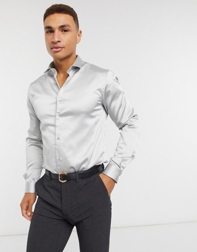 ツイステッド テイラー メンズ シャツ トップス Twisted Tailor skinny shirt in gray sateen Ice gray