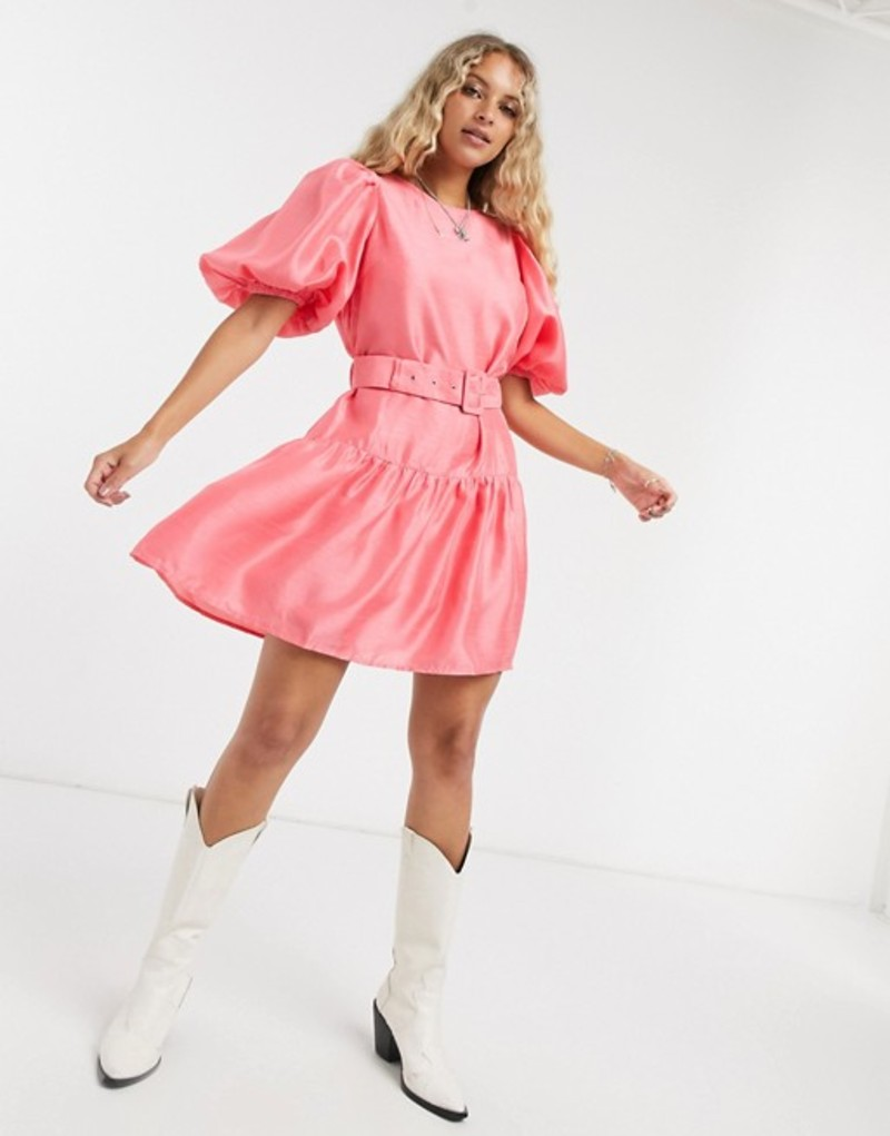 ヴェロモーダ レディース ワンピース トップス Vero Moda puff sleeve belted smock dress in pink Tearose