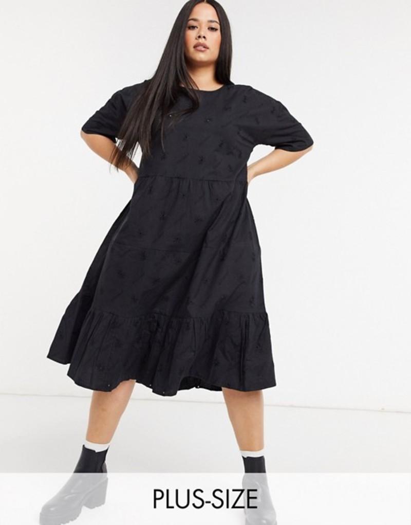 コルージョン レディース ワンピース トップス COLLUSION Plus exclusive broderie midi smock dress in black Black