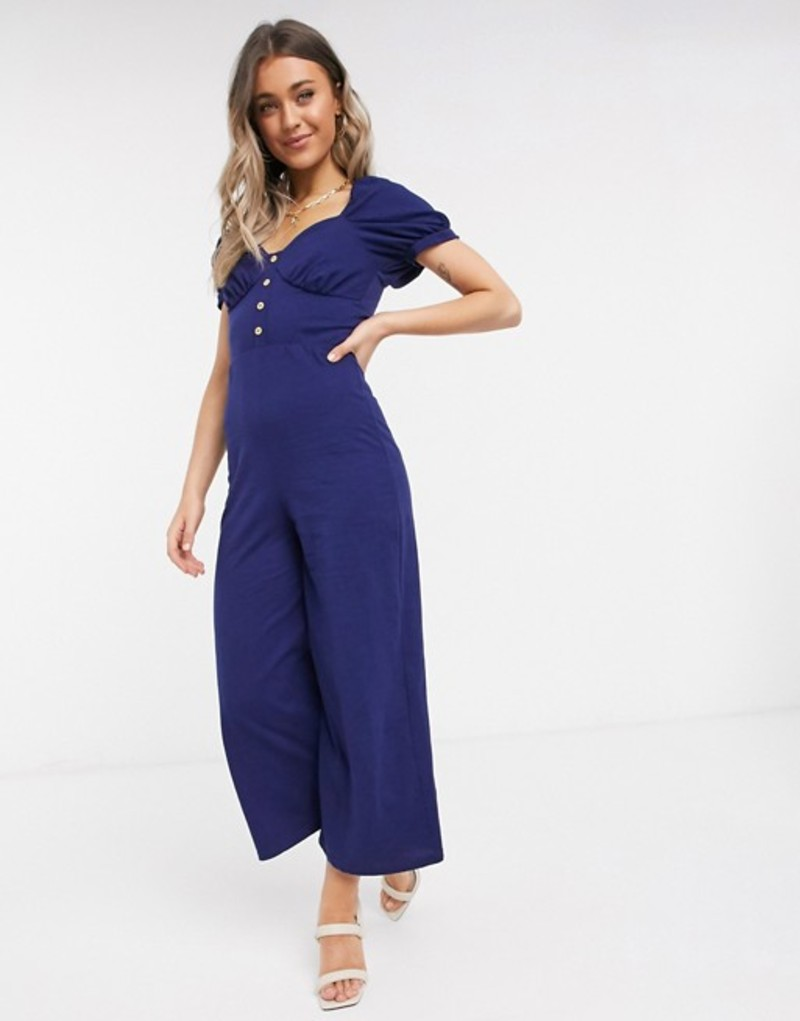 エイソス レディース ワンピース トップス ASOS DESIGN jersey button front cupped tea culotte jumpsuit in navy Navy