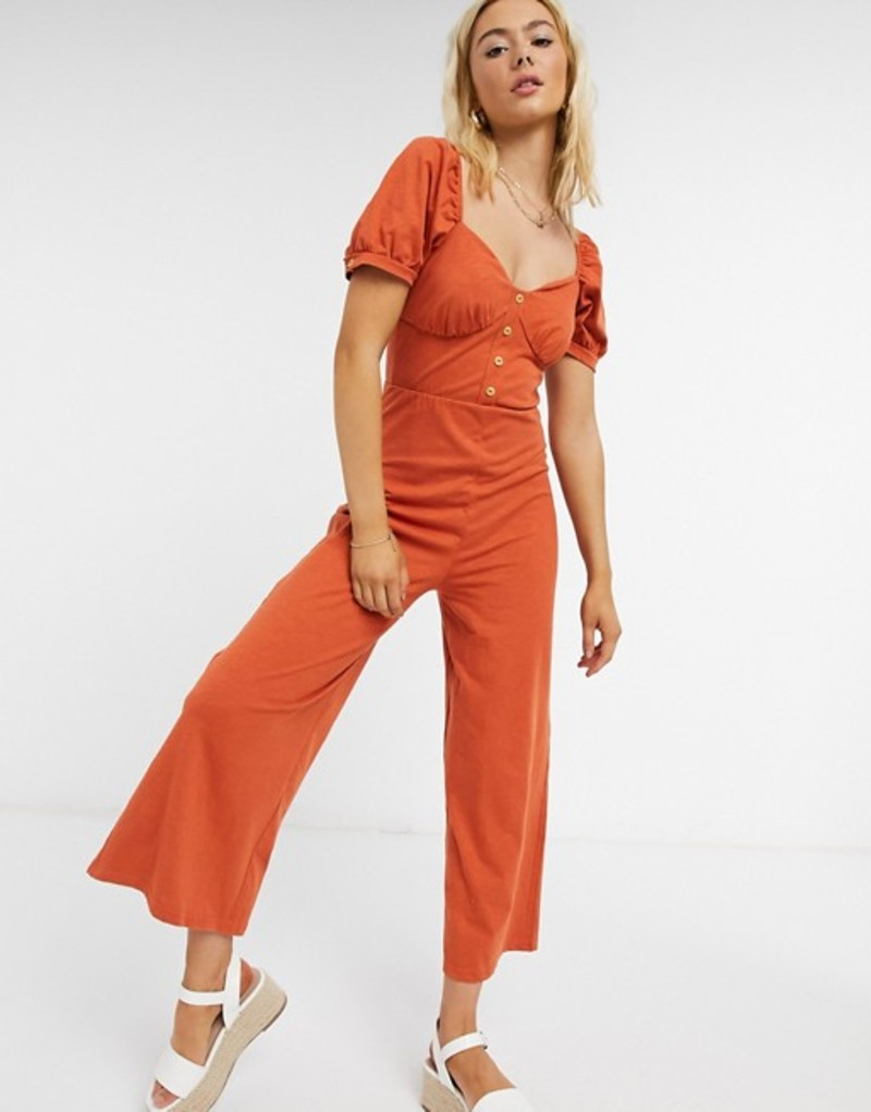 エイソス レディース ワンピース トップス ASOS DESIGN jersey button front cupped tea culotte jumpsuit in burnt orange Burnt orange