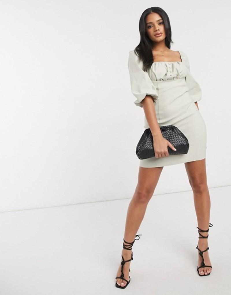 エイソス レディース ワンピース トップス ASOS DESIGN cotton ruched bust mini bodycon dress in stone Stone
