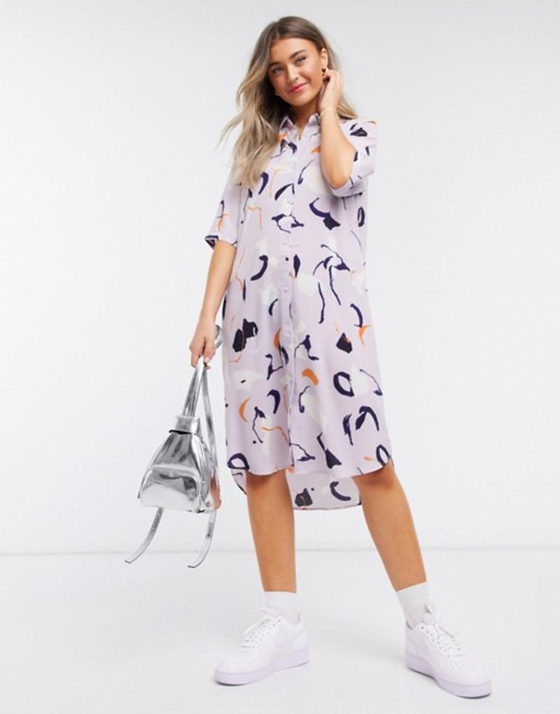 モンキ レディース ワンピース トップス Monki Damira art print midi shirt dress in pink Purple
