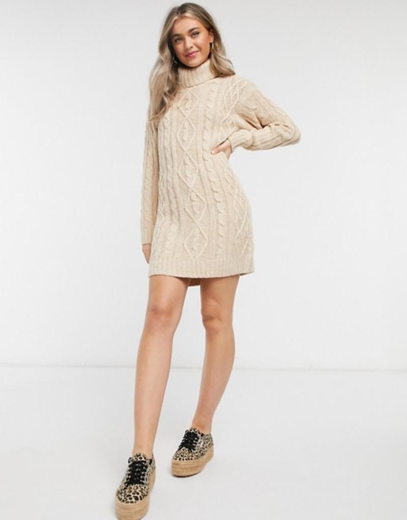 ブレーブソウル レディース ワンピース トップス Brave Soul reni cable knit sweater dress with roll neck Almond