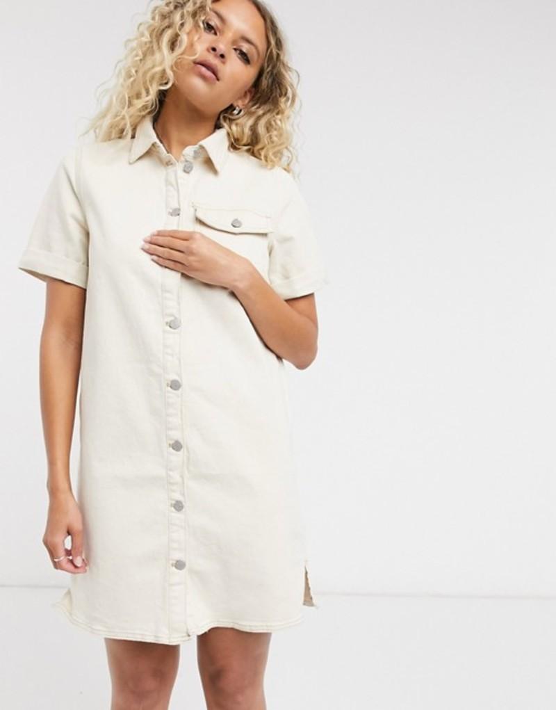 ヴィラ レディース ワンピース トップス Vila button front denim dress in off white Whisper white