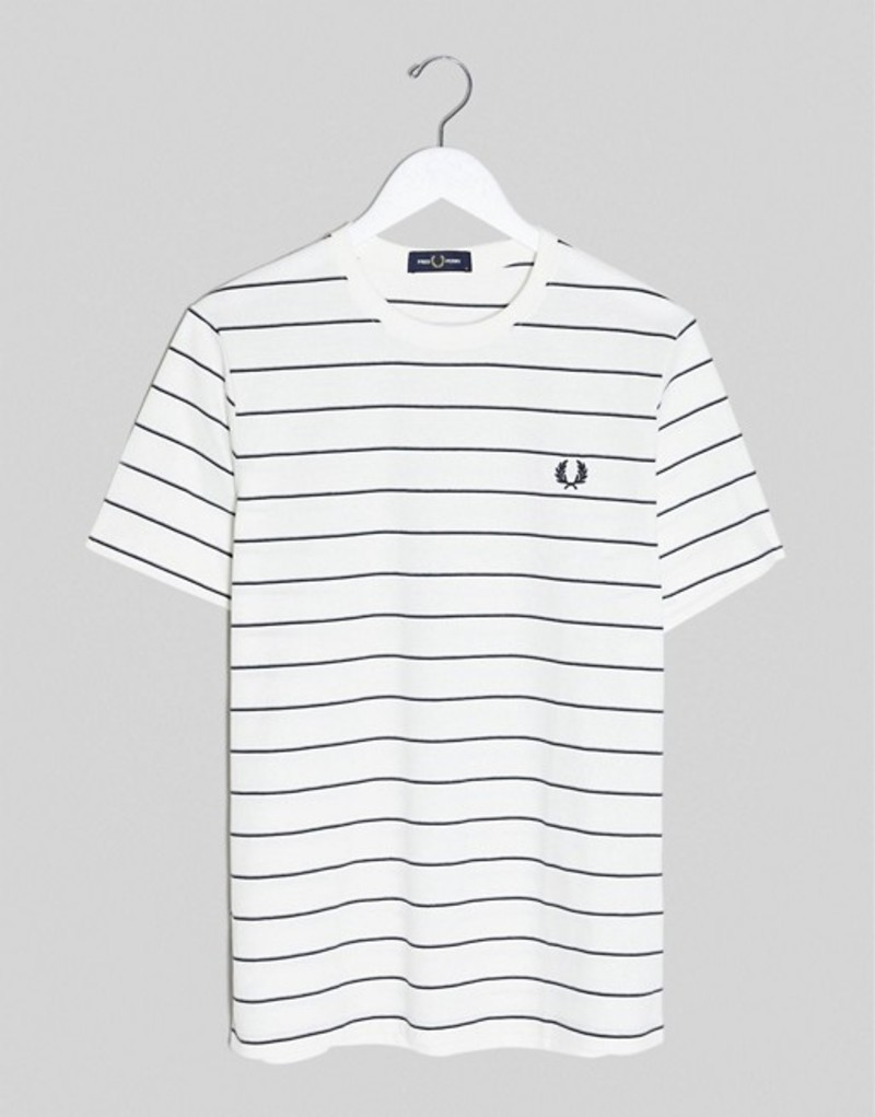 フレッドペリー メンズ シャツ トップス Fred Perry striped t-shirt in white Snow white