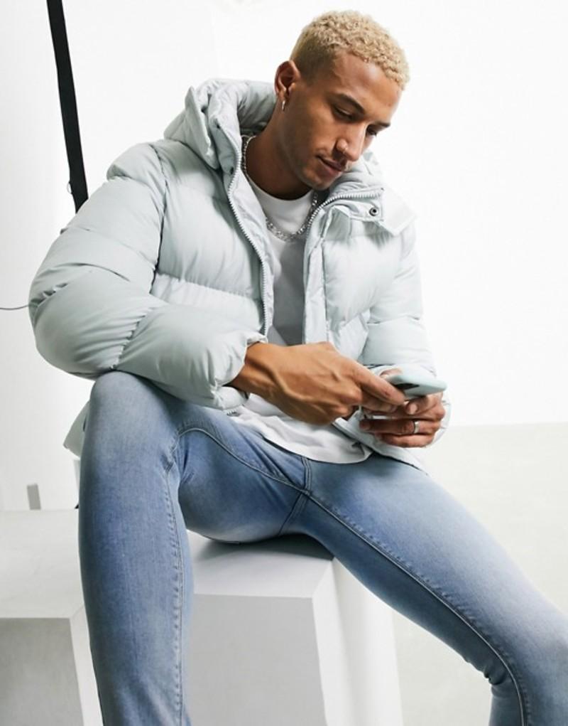 エイソス メンズ ジャケット・ブルゾン アウター ASOS DESIGN sustainable puffer jacket with detachable hood in gray Gray
