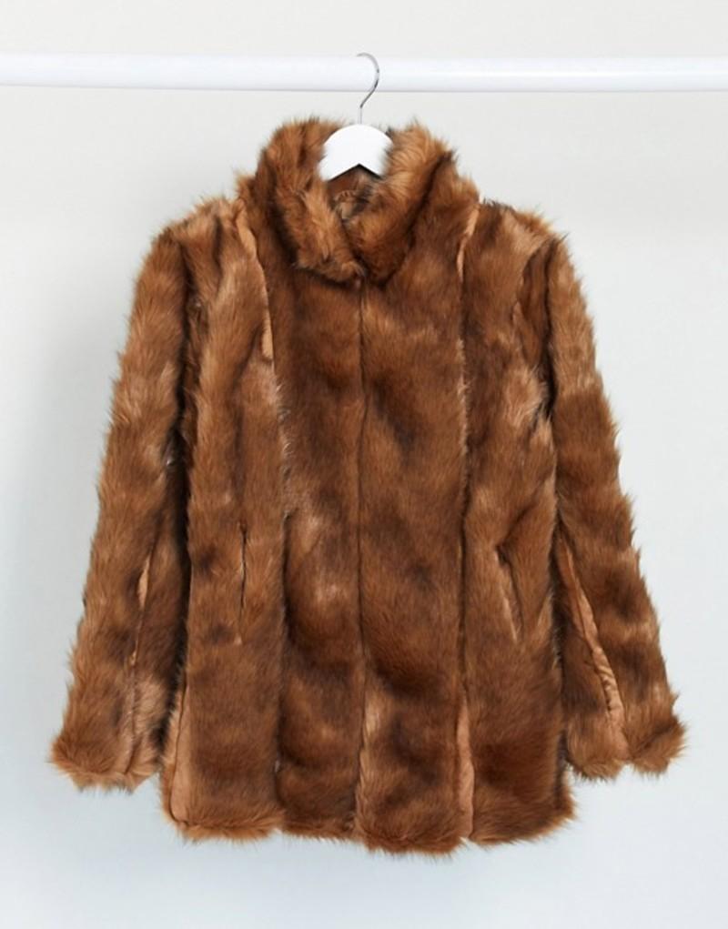 ミスガイデッド レディース コート アウター Missguided paneled faux fur coat in brown Brown