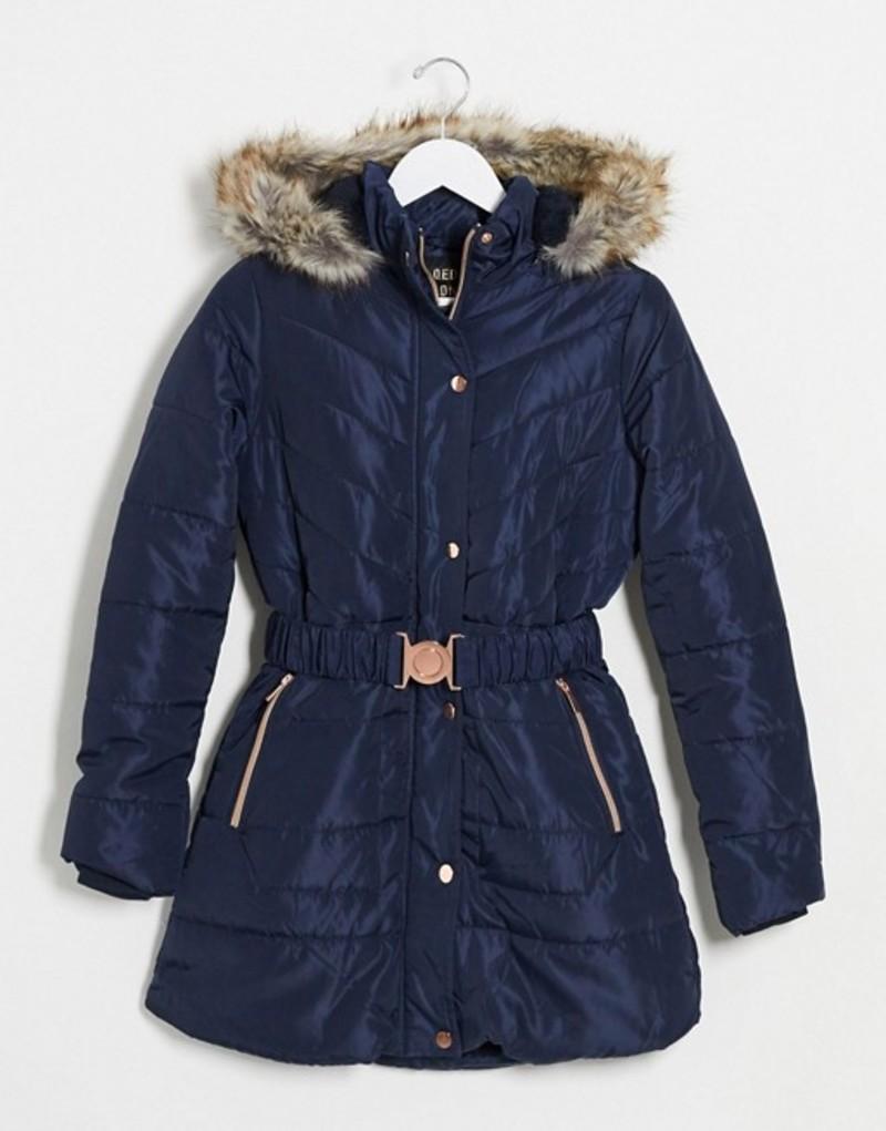 送料無料 サイズ交換無料 [ギフト/プレゼント/ご褒美] キューイーディーロンドン レディース アウター コート Navy QED quilted coat in with navy belt puffer London 期間限定の激安セール