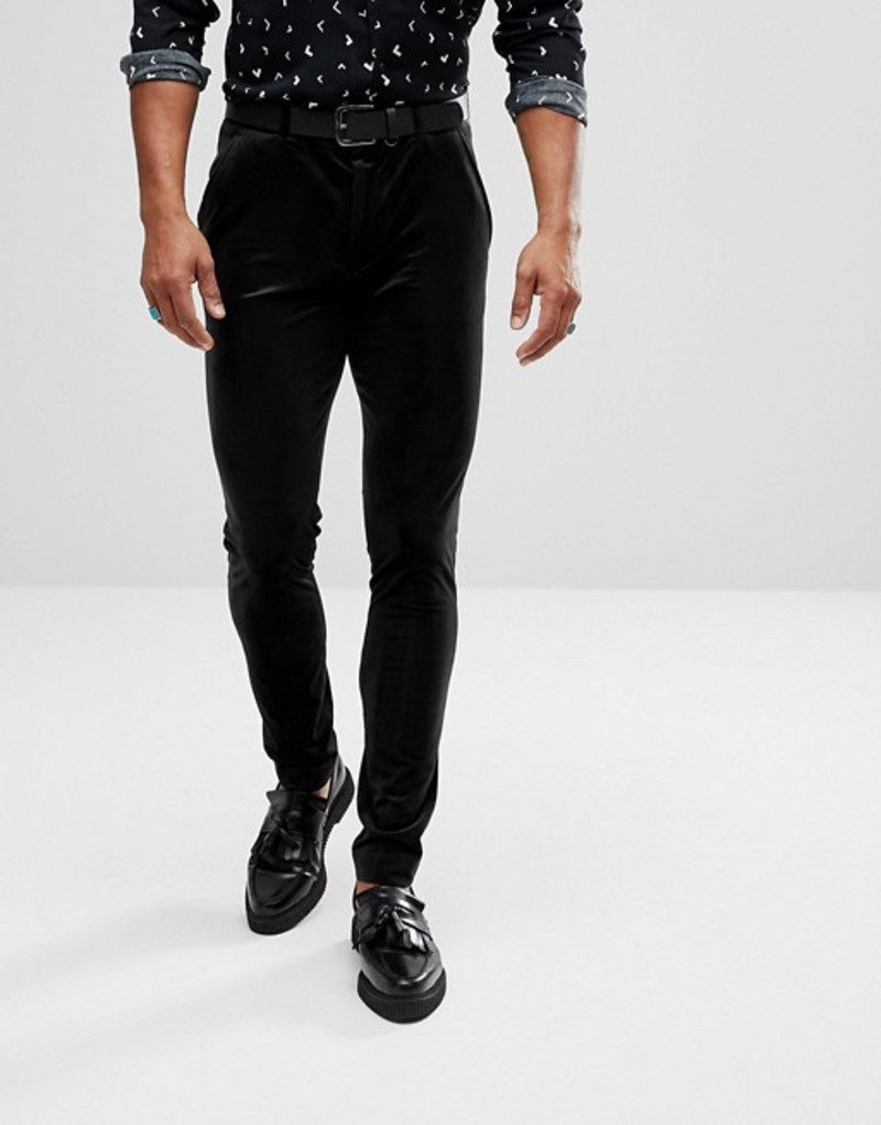 エイソス メンズ カジュアルパンツ ボトムス ASOS Super Skinny Pants In Black Velvet Black