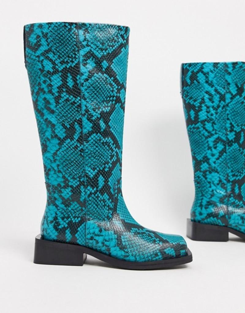 エイソス レディース ブーツ・レインブーツ シューズ ASOS DESIGN Charly premium leather trucker knee boots in blue snake Blue snake