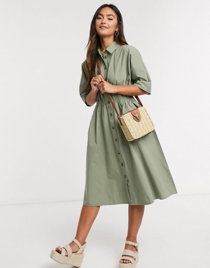 キューイーディーロンドン レディース ワンピース トップス QED London shirt midi dress in khaki Khaki