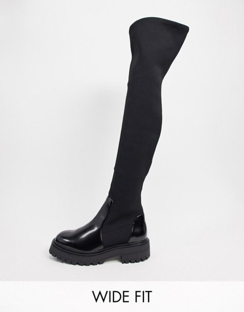 エイソス レディース ブーツ・レインブーツ シューズ ASOS DESIGN Wide Fit Keeley chunky flat knee boots in black Black