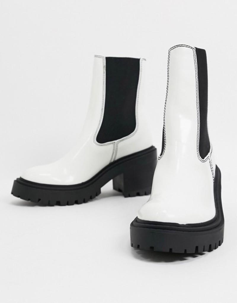 エイソス レディース ブーツ・レインブーツ シューズ ASOS DESIGN Rachel chunky chelsea boots in white White