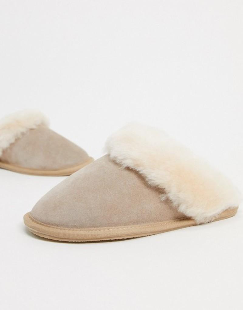 cream サンダル slippers DESIGN ASOS レディース premium sheepskin エイソス in Zeus シューズ Cream
