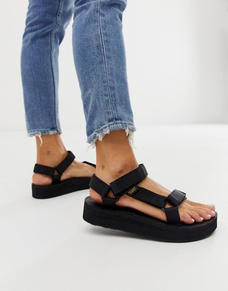 Black universal sandals テバ in black レディース シューズ midform Teva chunky サンダル