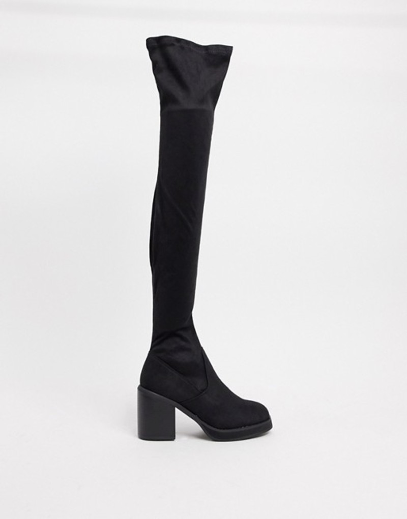 エイソス レディース ブーツ・レインブーツ シューズ ASOS DESIGN Kingston square toe platform over the knee boots Black