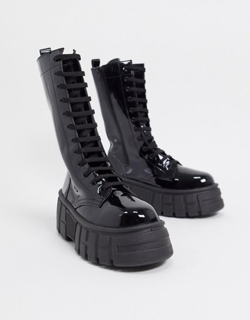 エイソス レディース ブーツ・レインブーツ シューズ ASOS DESIGN Athens 2 chunky high lace up boots in black patent Black patent