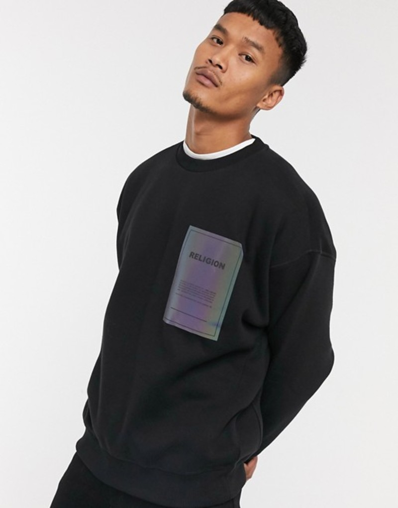 レリジョン メンズ シャツ トップス Religion oversized iridescent patch crew neck sweatshirt in black Black