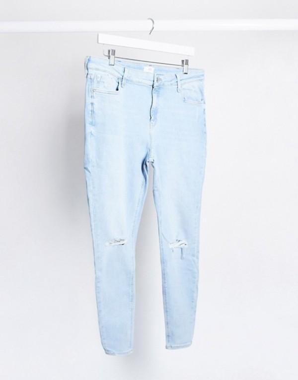 リバーアイランド レディース デニムパンツ ボトムス River Island Amelie ripped skinny jeans in light blue White