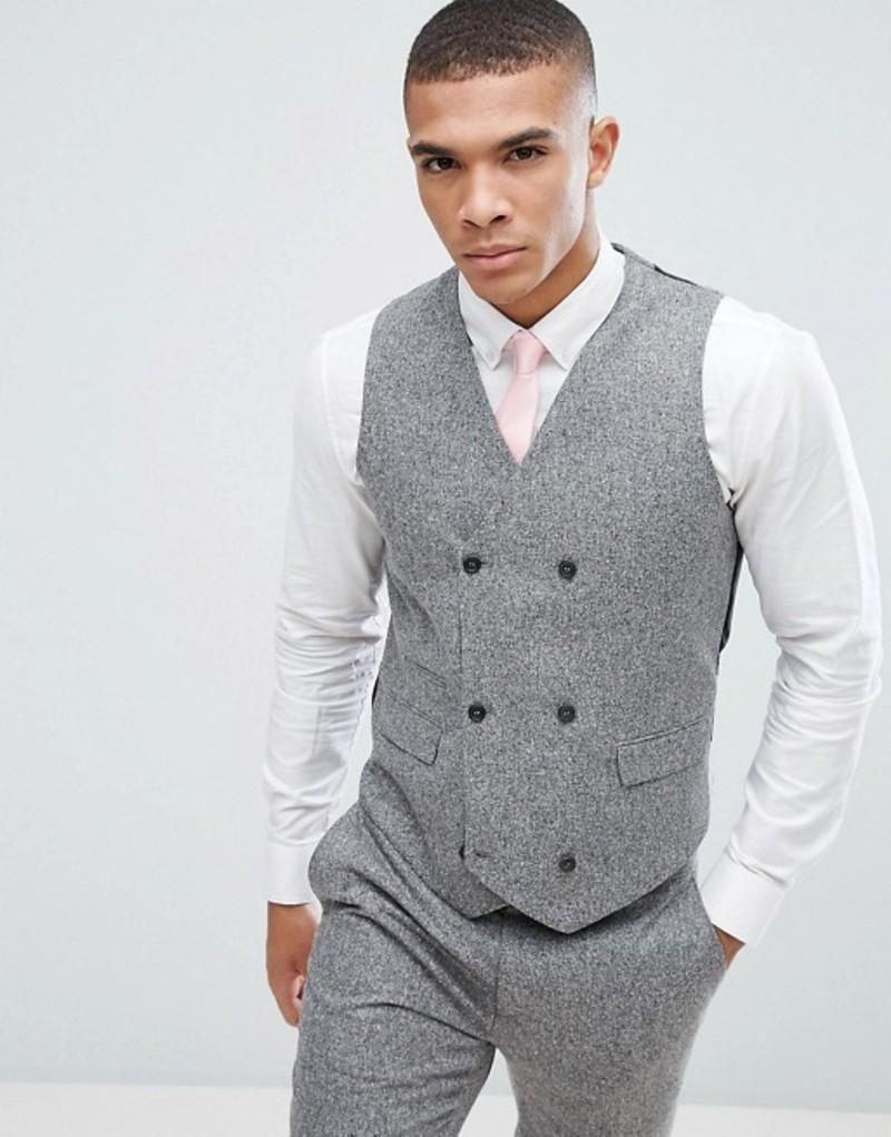 エイソス メンズ タンクトップ トップス ASOS Wedding Skinny Suit Vest In 100% Silk Textured Gray Light grey