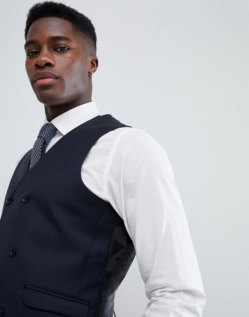 エイソス メンズ タンクトップ トップス ASOS Wedding Slim Suit Vest In Navy 100% Wool Navy