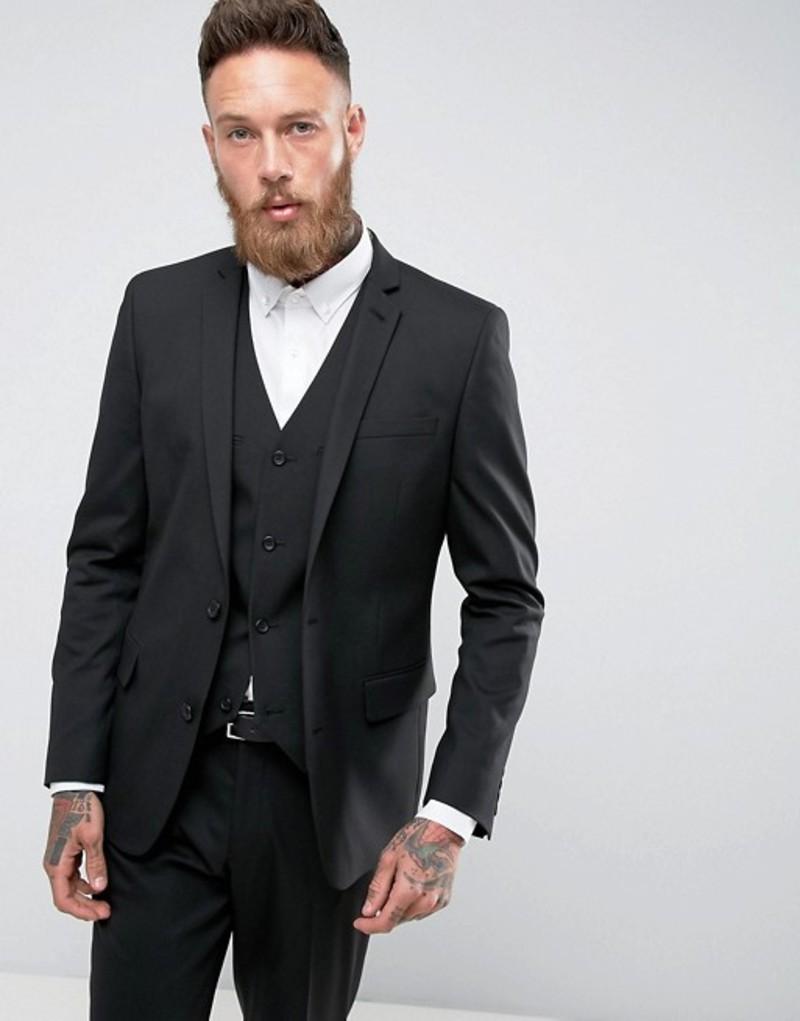 エイソス メンズ ジャケット・ブルゾン アウター ASOS Slim Suit Jacket In Black Black
