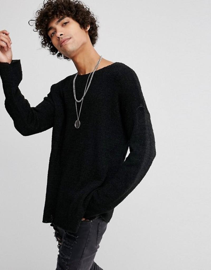 エイソス メンズ ニット・セーター アウター ASOS Slouchy Textured Sweater In Black Black