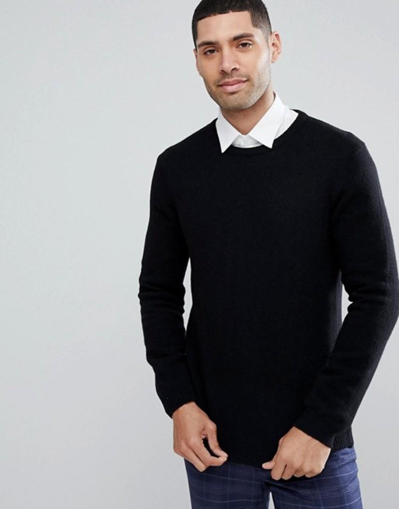エイソス メンズ ニット・セーター アウター ASOS Lambswool Sweater In Black Black