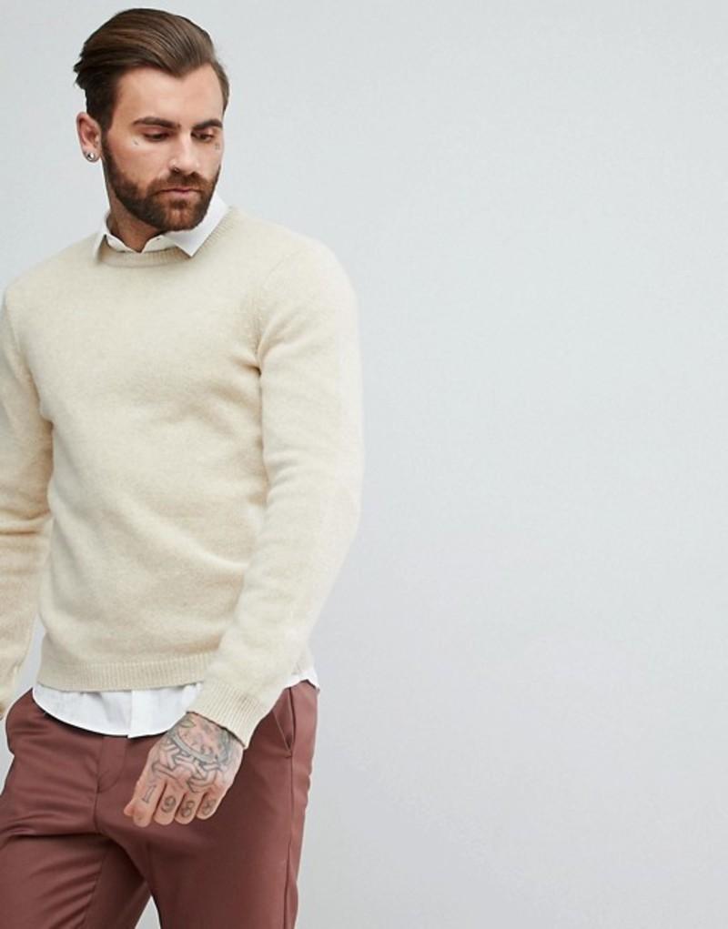 エイソス メンズ ニット・セーター アウター ASOS Lambswool Sweater In Oatmeal Oatmeal
