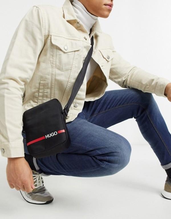 フューゴ メンズ トラベルケース・パスポートケース バッグ HUGO Record logo x body bag in black Black