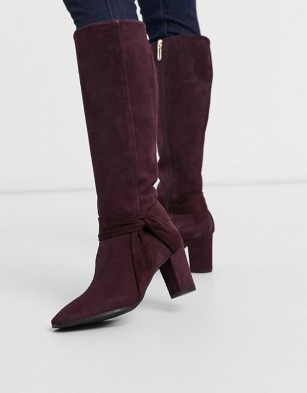 カレンミレン レディース ブーツ・レインブーツ シューズ Karen Millen Florence suede high-knee boots in burgundy Burgundy