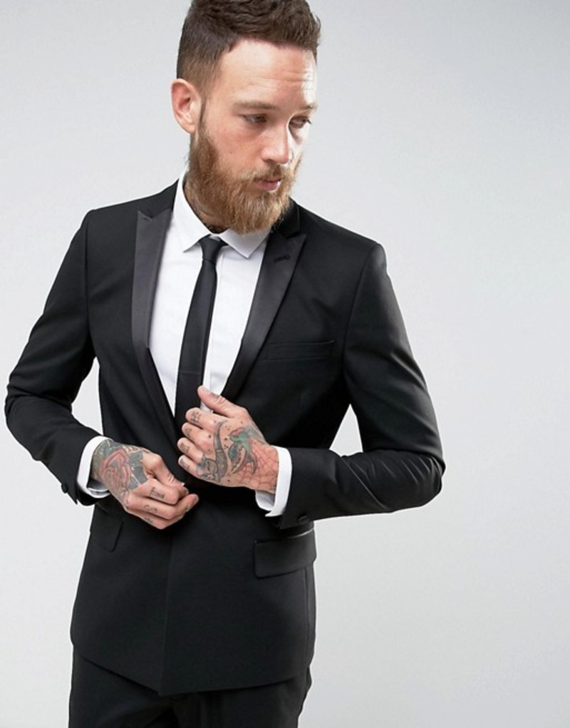 エイソス メンズ ジャケット・ブルゾン アウター ASOS Skinny Tuxedo Suit Jacket With Satin Lapel In Black Black
