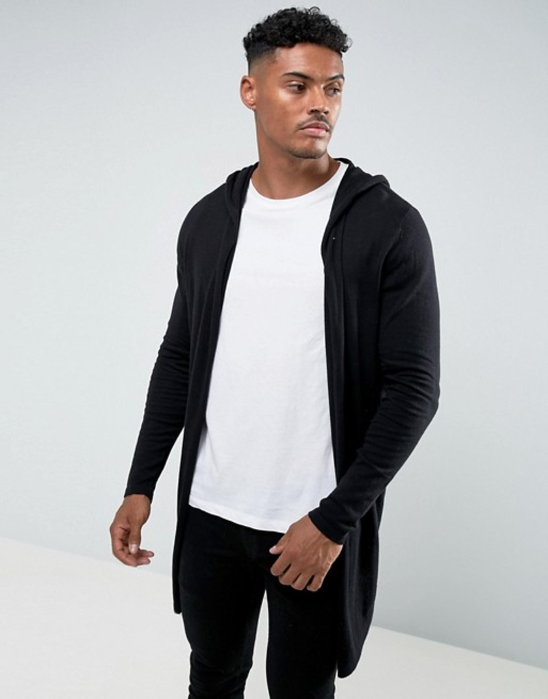 エイソス メンズ カーディガン アウター ASOS Hooded Open Front Cardigan With Curved Hem In Black Black