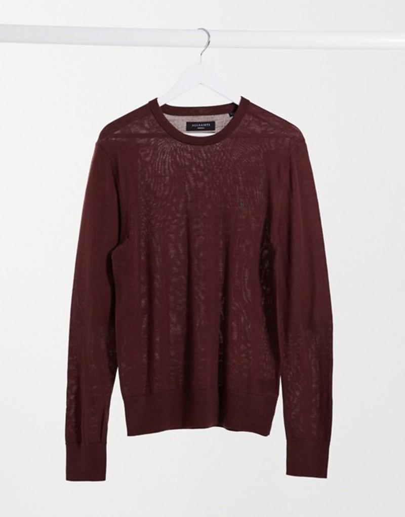 送料無料 サイズ交換無料 オールセインツ メンズ 限定品 アウター ニット セーター Burgundy AllSaints sweater Mode 限定品 logo merino burgundy in wool