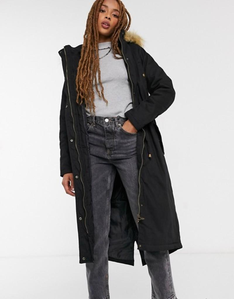 送料無料 サイズ交換無料 ブレーブソウル 安全 レディース アウター コート Black coat 送料無料(一部地域を除く) Brave maxi genevive Soul parka