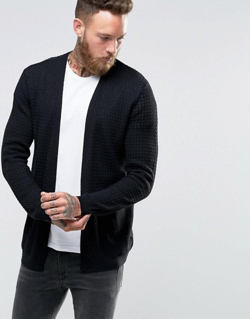エイソス メンズ カーディガン アウター ASOS Lightweight Cable Cardigan In Black Black
