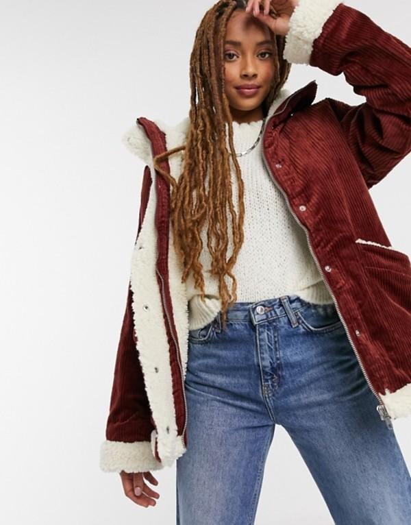 送料無料 サイズ交換無料 モンキ レディース アウター ジャケット ブルゾン Brown Monki jacket 25%OFF faux brown lined cord セール shearling in Shea