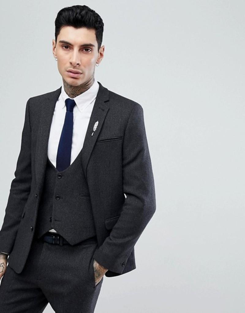 エイソス メンズ ジャケット・ブルゾン アウター ASOS Slim Suit Jacket in Charcoal Wool Mix Twill Charcoal