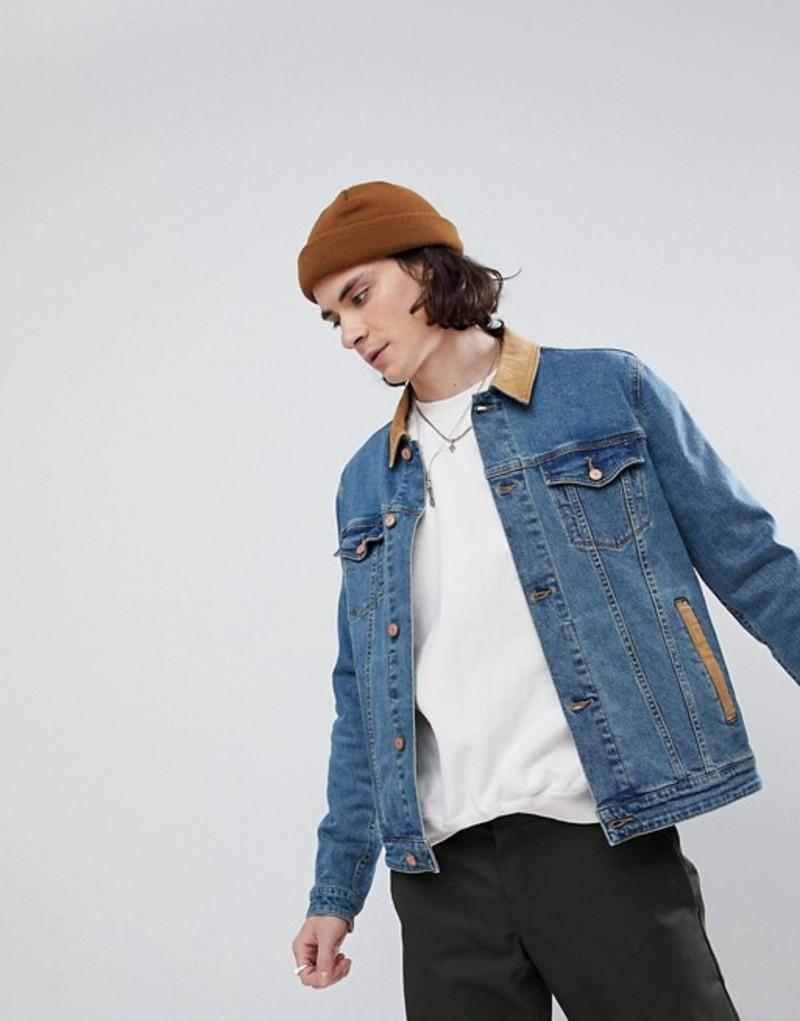 エイソス メンズ ジャケット・ブルゾン アウター ASOS Skinny Denim Jacket With Cord Collar In Mid Wash Blue wash