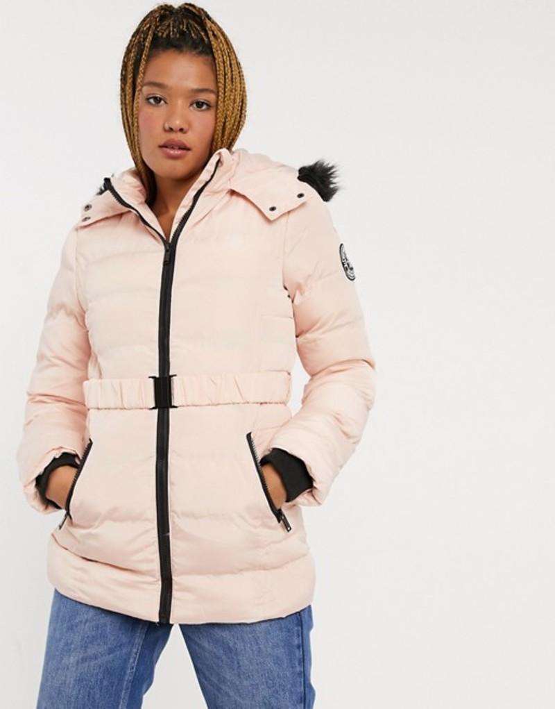送料無料 サイズ交換無料 ブレーブソウル AL完売しました。 レディース アウター コート Pink Brave jacket belt in padded Soul pink with 激安通販