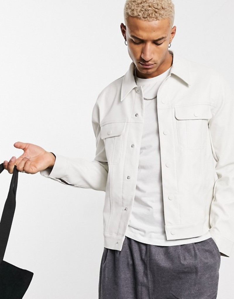 faux in DESIGN メンズ jacket ASOS white エイソス White western アウター ジャケット・ブルゾン leather