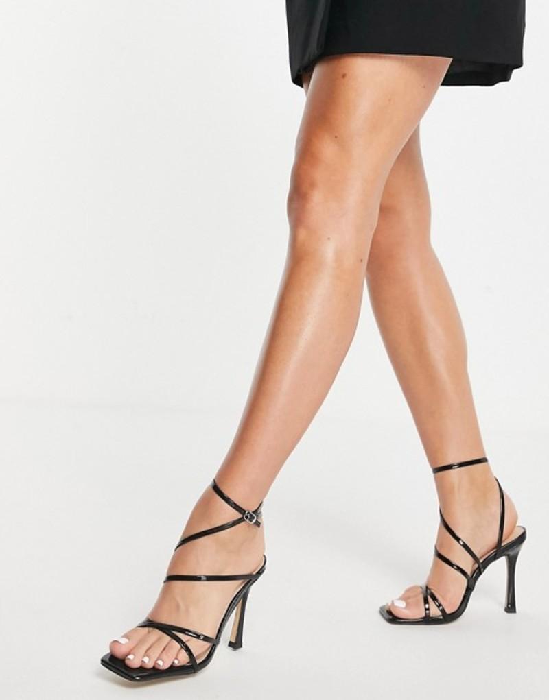 サンダル patent シューズ Black black London sandals strappy レディース in Rebel heeled ロンドンレベル