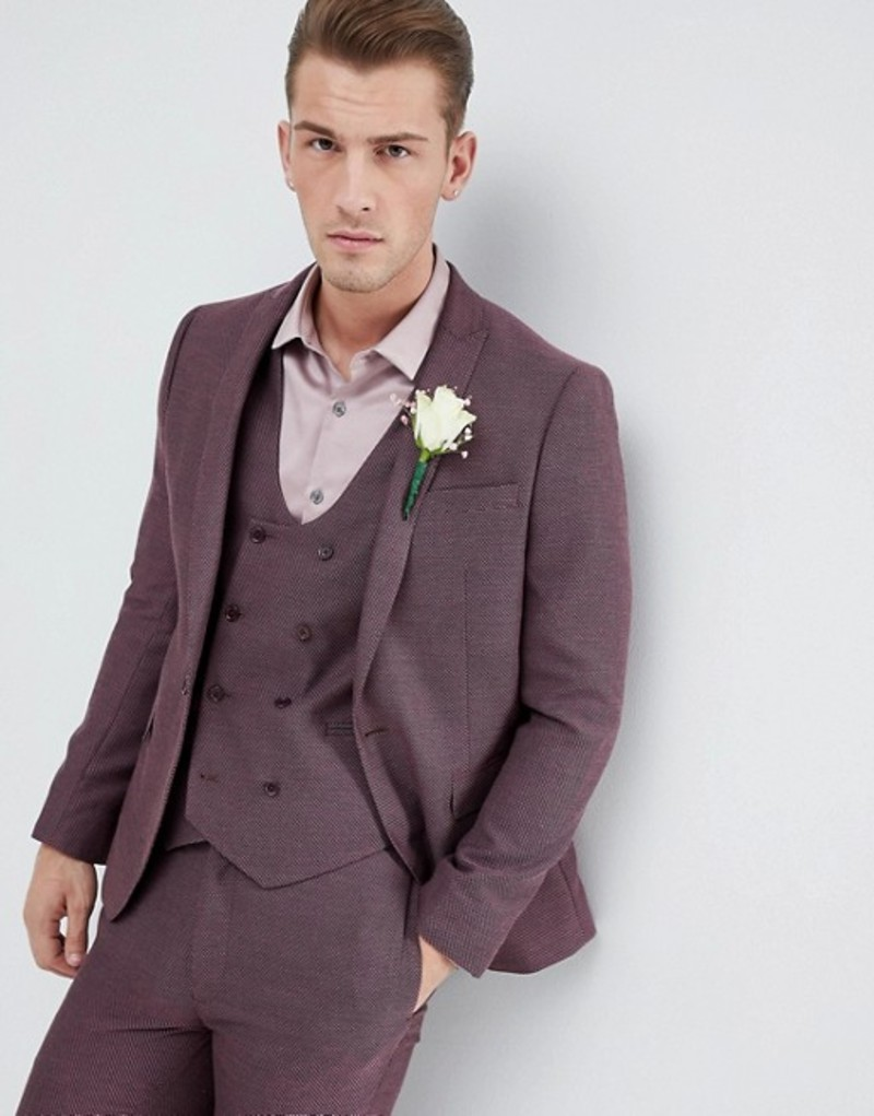 エイソス メンズ ジャケット・ブルゾン アウター ASOS Wedding Skinny Suit Jacket In Damson Micro Texture Purple