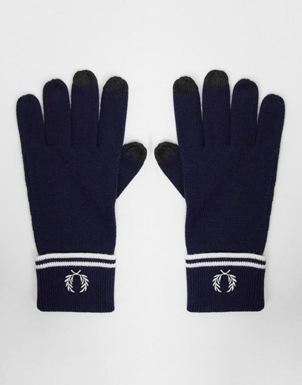 送料無料 サイズ交換無料 フレッドペリー メンズ アクセサリー 信憑 手袋 Navy Fred Perry gloves merino screen 100% touch navy 受賞店 wool in