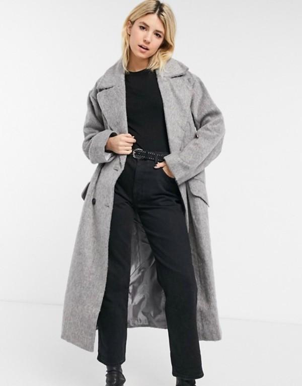 送料無料 サイズ交換無料 エイソス レディース アウター コート Grey ASOS 限定特価 当店一番人気 DESIGN brushed luxe maxi gray coat in