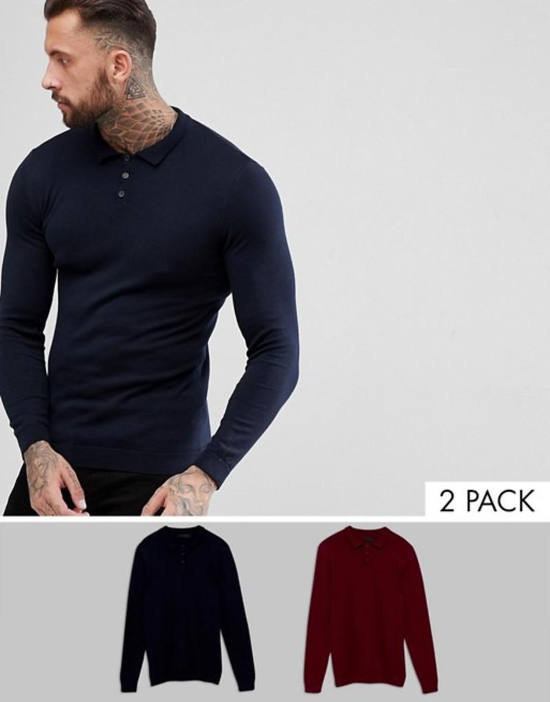 エイソス メンズ ポロシャツ トップス ASOS 2 Pack Knitted Muscle Fit Polo In Navy/Burgundy SAVE Multi