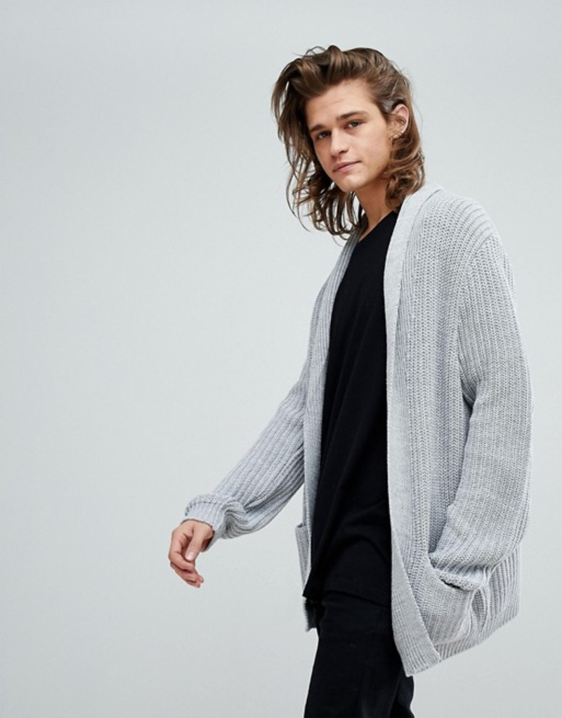 エイソス メンズ カーディガン アウター ASOS Ultimate Knitted Cardigan In Pale Gray Grey