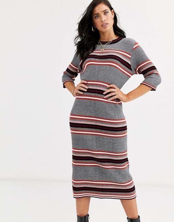 フレンチコネクション レディース ワンピース トップス French Connection stripe knited midi dress Multi:ReVida 店